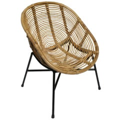 1950s Design Rattan and Black Metal Armchair