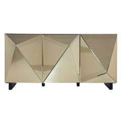 Gold Mirrored and Black Lacquered Wooden Sideboard