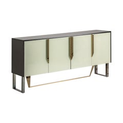 Colored Beveled Mirrored and Metal Feet Design Sideboard