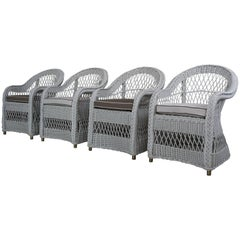 Set of Four White Wicker Rattan Armchairs