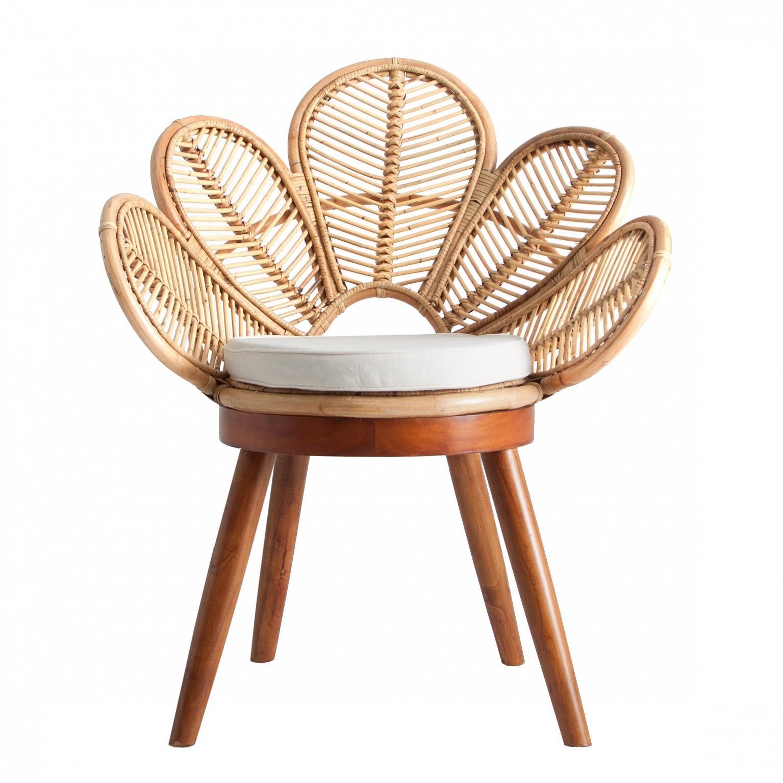 Mahogany Wooden Feet and Rattan Flower Armchair