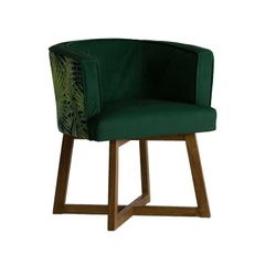 Design Wooden and Green Velvet Pair of Armchairs