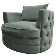 French Design Emerald Green Velvet Large Armchair