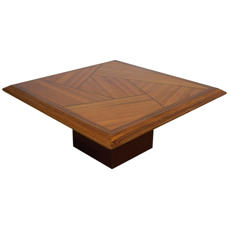 Wooden Marquetry Italian Design Coffee Table  For Sale