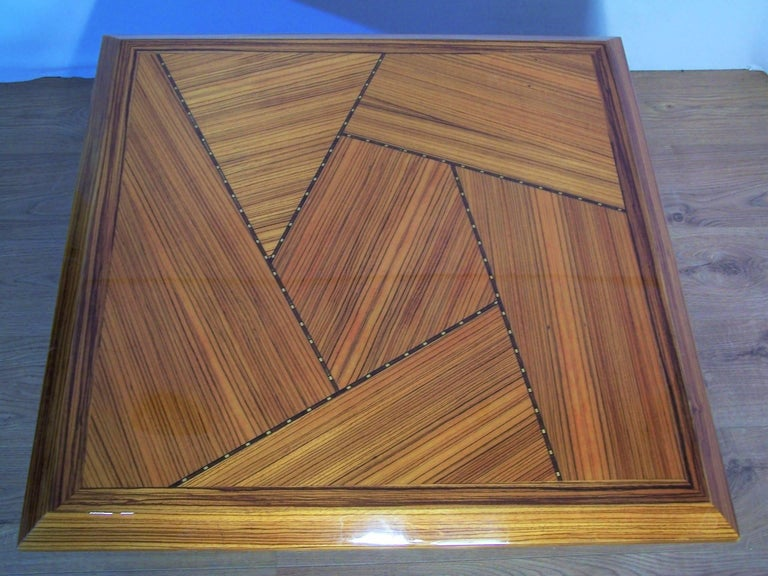 Mid-Century Modern Wooden Marquetry Italian Design Coffee Table  For Sale