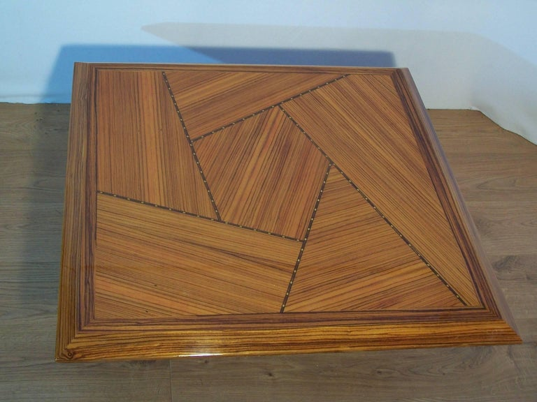 European Wooden Marquetry Italian Design Coffee Table  For Sale