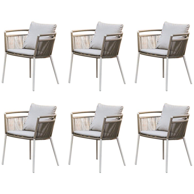 Set of Six Braided Rope and Metal Outdoor Armchairs