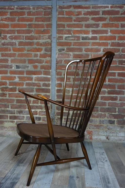 "British Colonial Genuine ""Double Bend Bow"" Ercol Armchair with Original Cushions For Sale"