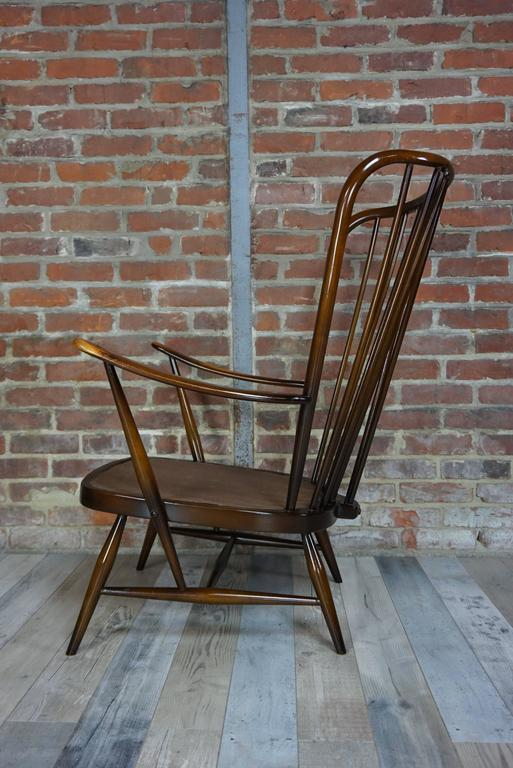 "English Genuine ""Double Bend Bow"" Ercol Armchair with Original Cushions For Sale"