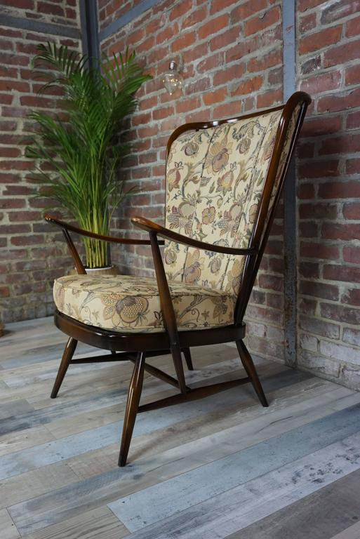 "Elm Genuine ""Double Bend Bow"" Ercol Armchair with Original Cushions For Sale"