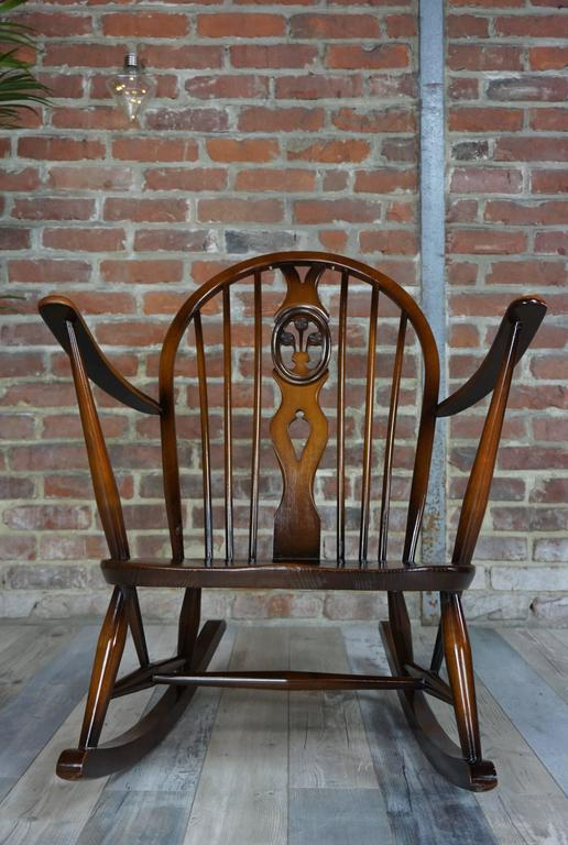 famous wooden chairs rocking chair 1950s ercol with cushions at 1stdibs 15213 | 3 l