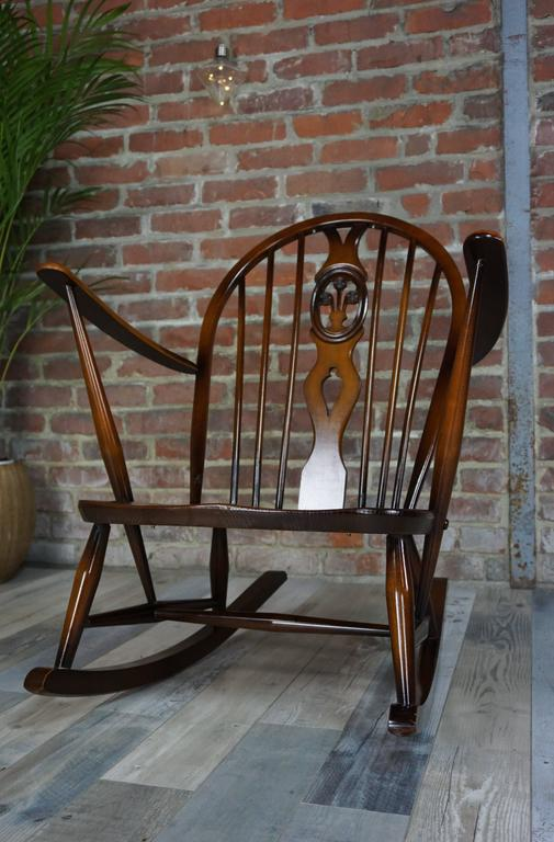 British Colonial Rocking Chair 1950s Ercol with Cushions