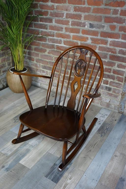 English Rocking Chair 1950s Ercol with Cushions