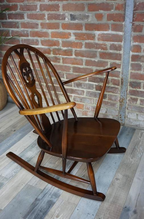 famous wooden chairs rocking chair 1950s ercol with cushions at 1stdibs 15213 | 7b l