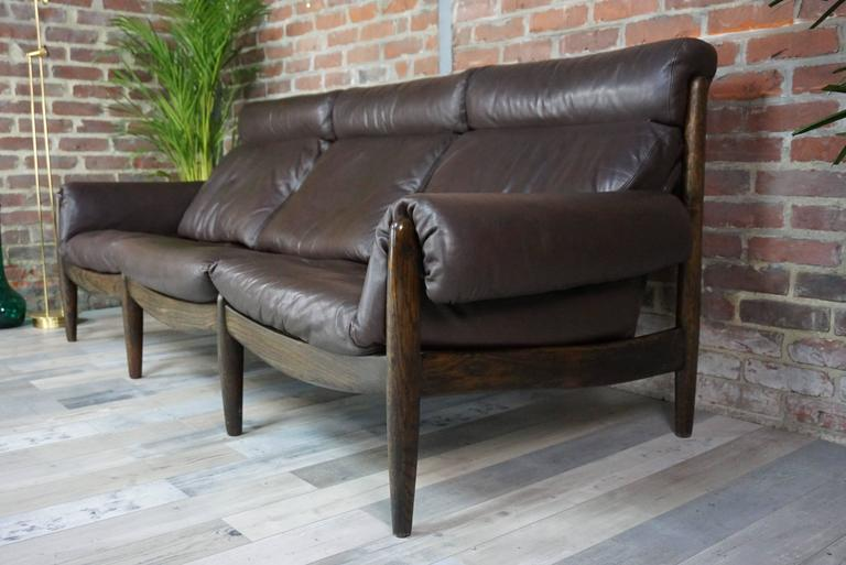 Scandinavian Modern Scandinavian Three-Seat Sofa in Leather and Oak For Sale