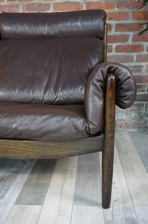 European Scandinavian Three-Seat Sofa in Leather and Oak For Sale