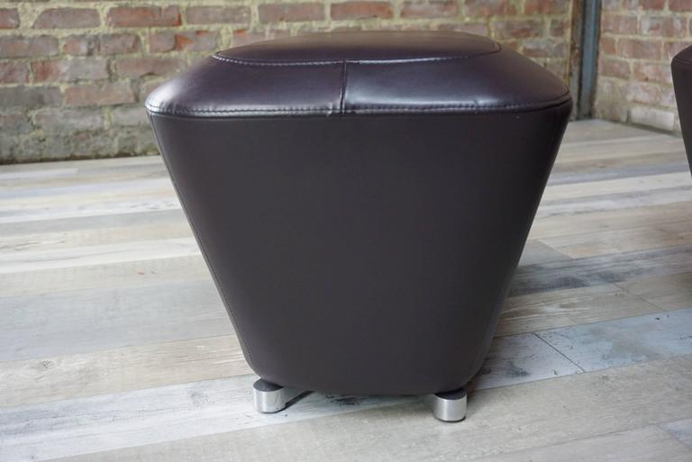 leather ottoman and armchair design by fran ois bauchet. Black Bedroom Furniture Sets. Home Design Ideas