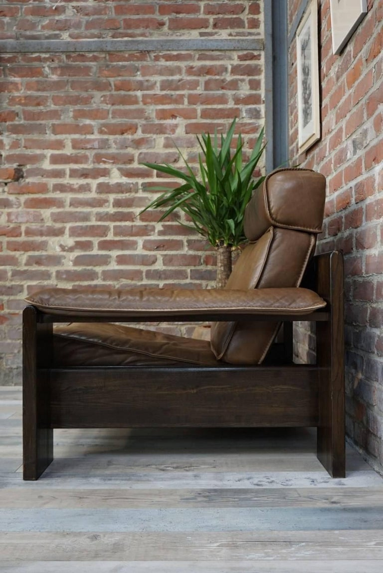 Dutch Design Oak and Leather Armchair of the 1950s by Harry De Groot for Leolux For Sale 3