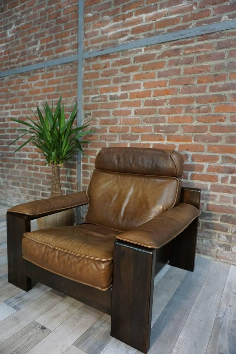 20th Century Dutch Design Oak and Leather Armchair of the 1950s by Harry De Groot for Leolux For Sale