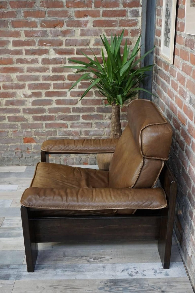 Dutch Design Oak and Leather Armchair of the 1950s by Harry De Groot for Leolux For Sale 2