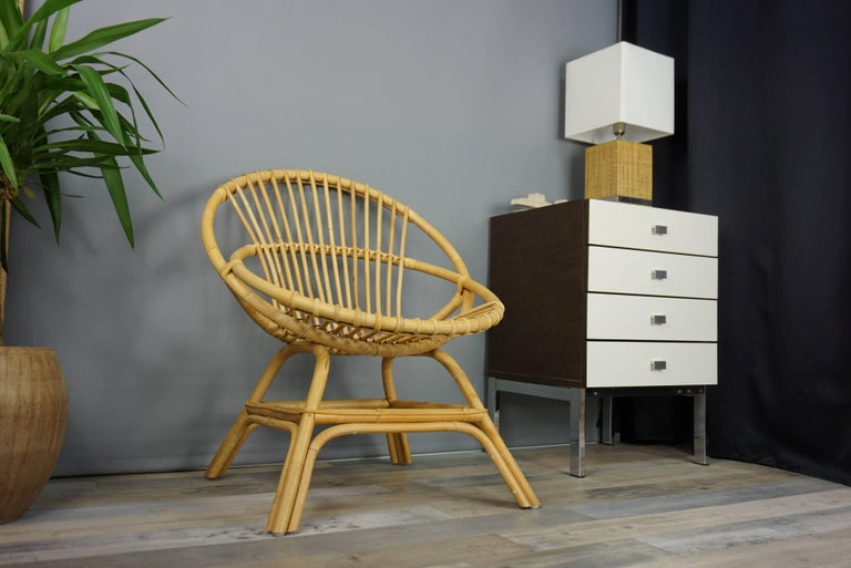 Hand-Crafted Armchair in Natural Rattan Cane For Sale