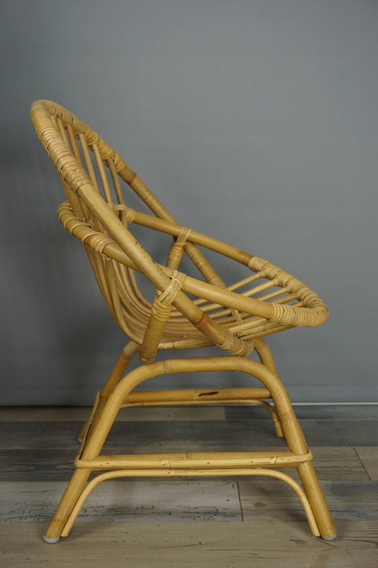 Contemporary Armchair in Natural Rattan Cane For Sale