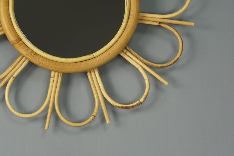 Hand-Crafted Rattan Mirror  For Sale