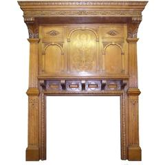 19th Century Late Victorian Arts and Craft Oak Mantel Fireplace Surround
