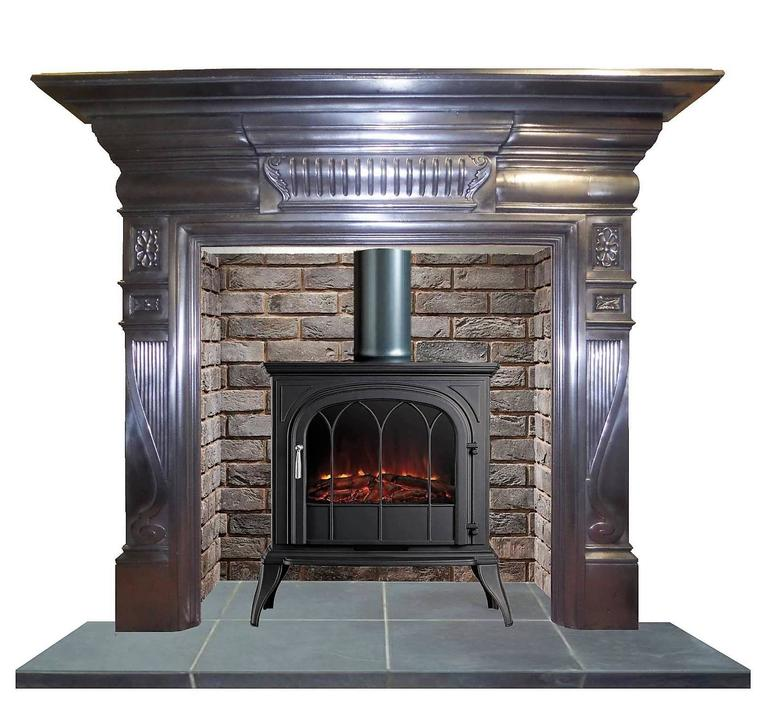 20th Century 1901 Edwardian Burnished Cast Iron Mantel Fireplace Surround For Sale At 1stdibs