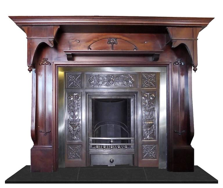 Antique Art Nouveau Large Mahogany Fireplace Mantel For Sale At 1stdibs