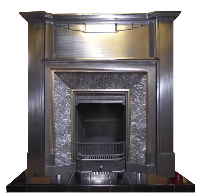 20th Century 1930 S Art Deco Burnished Cast Iron Mantel Fireplace Surround For Sale At 1stdibs