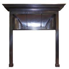 Antique Edwardian Charles Rennie Mackintosh Burnished Cast Iron Fireplace Surrou