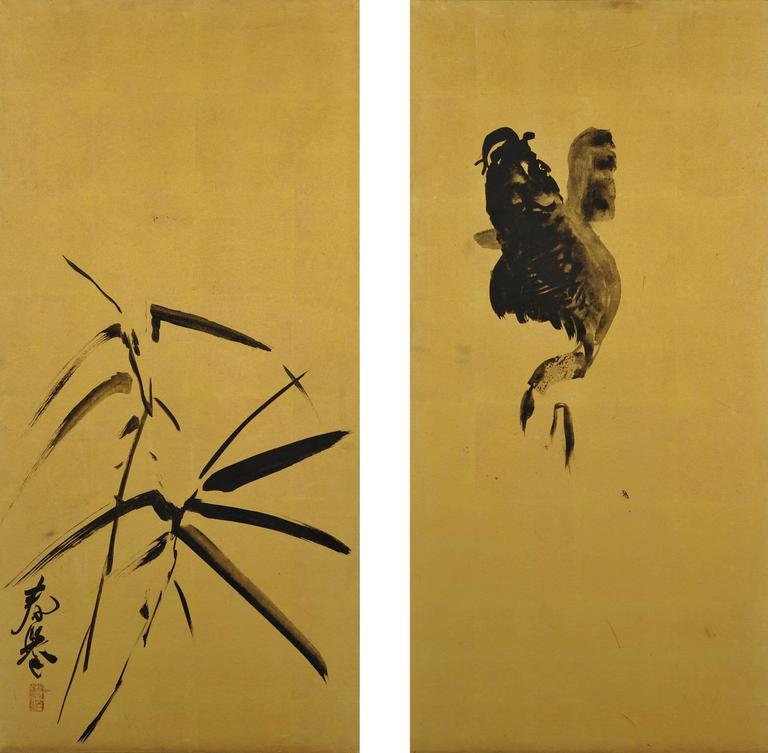 Yamamoto Shunkyo (1871-1933) Japanese Framed Painting Pair, Carp and Bamboo For Sale