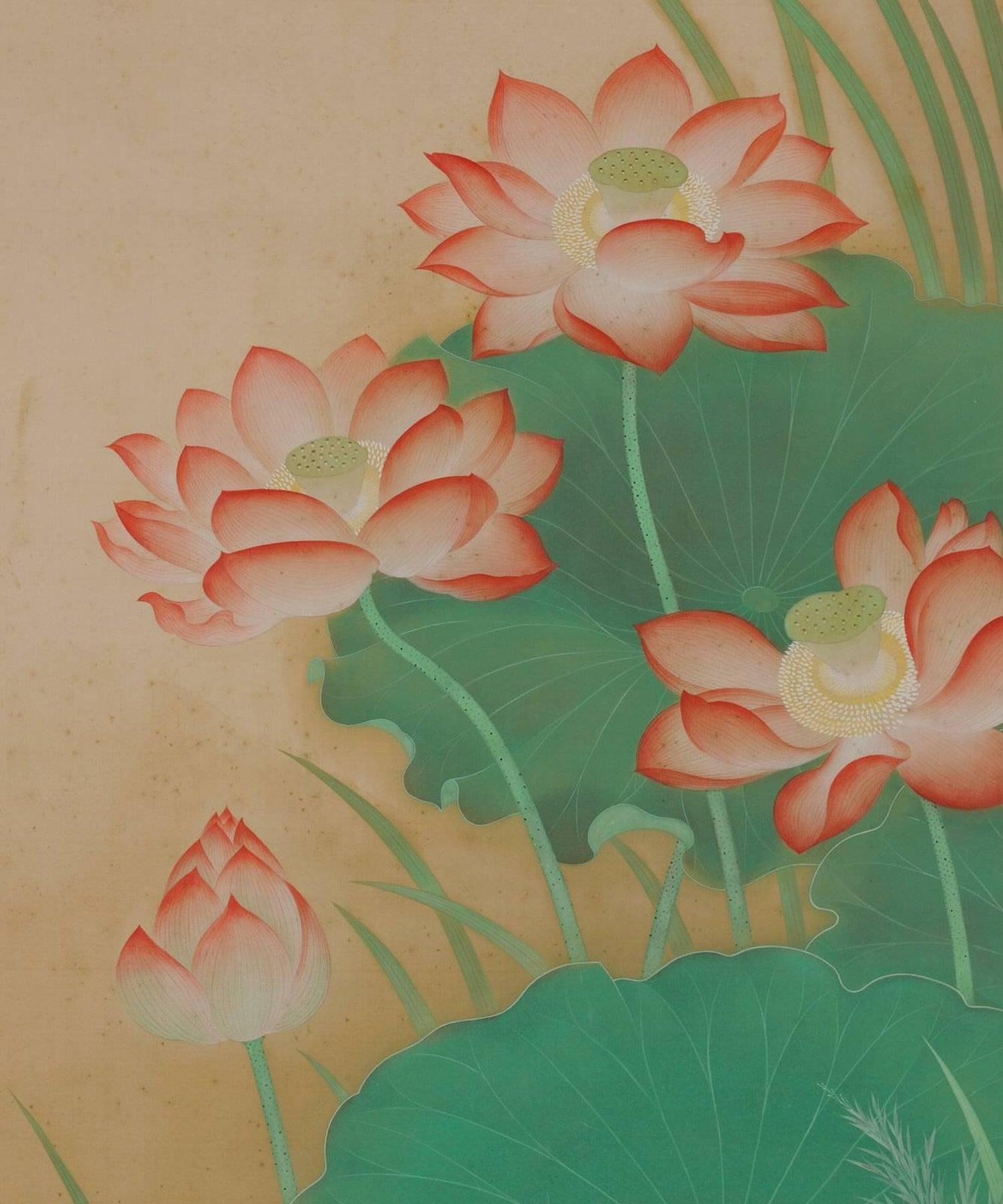 Japanese Scroll Painting Crimson Lotus Kobayashi Kahaku For Sale