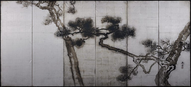 Hand-Painted Ink Pine Trees on Silver Leaf, Japanese Screen Pair, Late Meiji, circa 1910 For Sale
