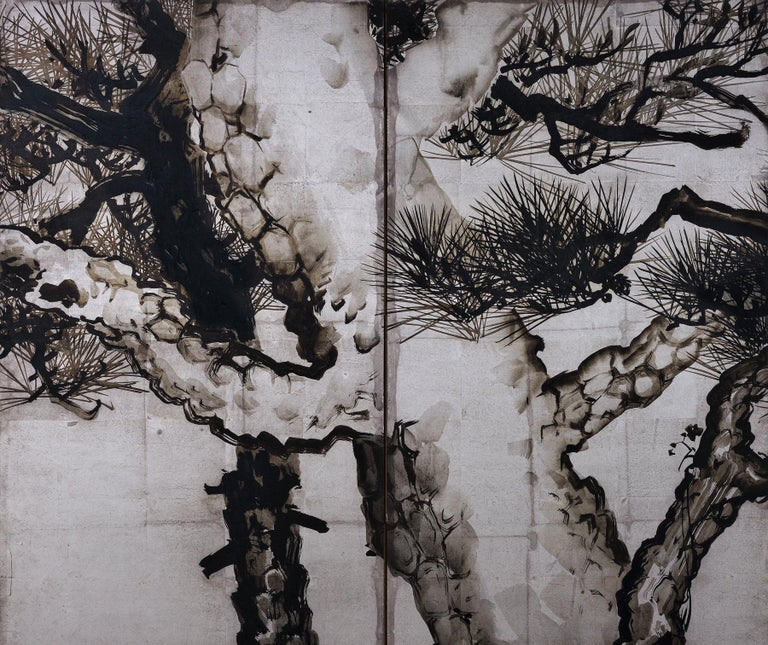 Ink Pine Trees on Silver Leaf, Japanese Screen Pair, Late Meiji, circa 1910 In Good Condition For Sale In Kyoto, JP