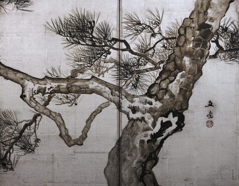 Early 20th Century Ink Pine Trees on Silver Leaf, Japanese Screen Pair, Late Meiji, circa 1910 For Sale