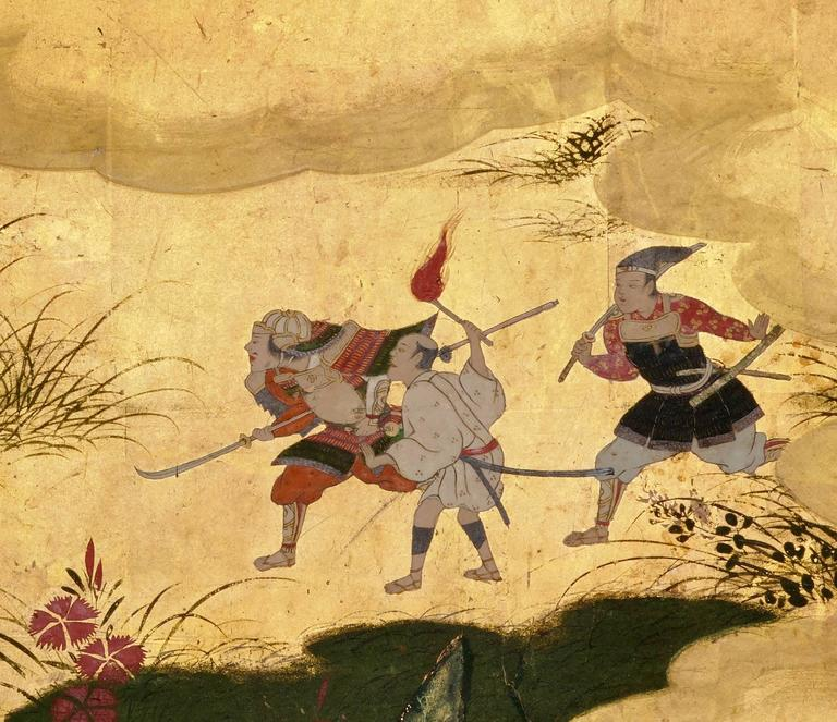 Edo Japanese Screen Painting, Circa 1700 'Tales of Ise' by Tosa Mitsusuke For Sale