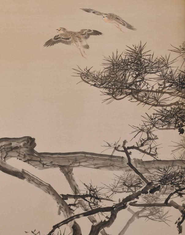 A six-fold Japanese screen by Konoshima Okoku, which dates back to the early part of his career and reference the works of Keinen, his teacher.