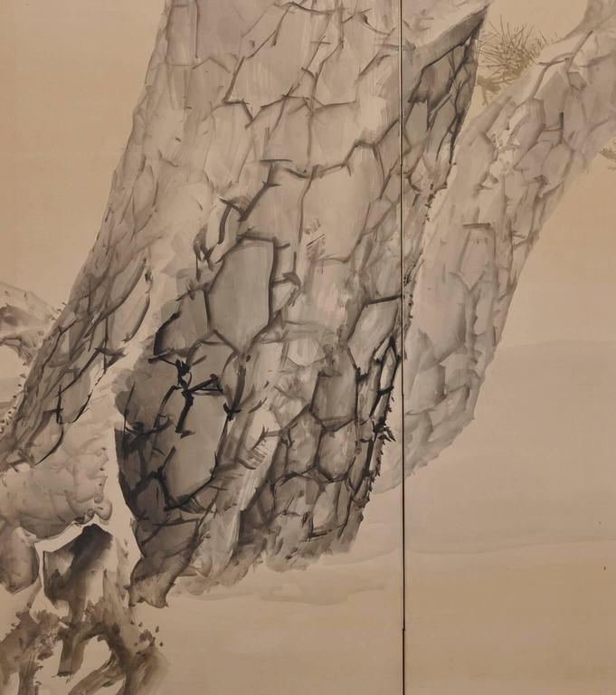 Konoshima Okoku (1877-1938), Pine & Plover, Japanese Folding Screen 3