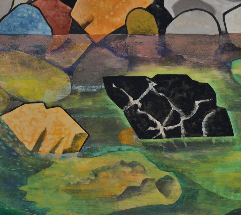 A small Japanese folding screen by the artist Hamada Taiji (1916-2010).  A window-like view of a rocky river in summer fills the screen to its edges. In the immediate foreground three rocks jut clear of the flowing river and lead the eye to the