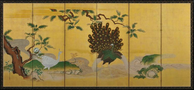 A pair of six-panel Japanese folding screens by Tsunetake Yotei (n.d.)  First half of the 18th century.  The signature reads 67 year old Tsunetake.  The seals read:  Tsunetake no in,  Yotei,  Seishin.  A pair of Kano Grand Picture