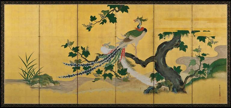 Edo Japanese Kano Screens. Phoenix and Peacocks on Gold Leaf. 1st Half of the 18c.  For Sale
