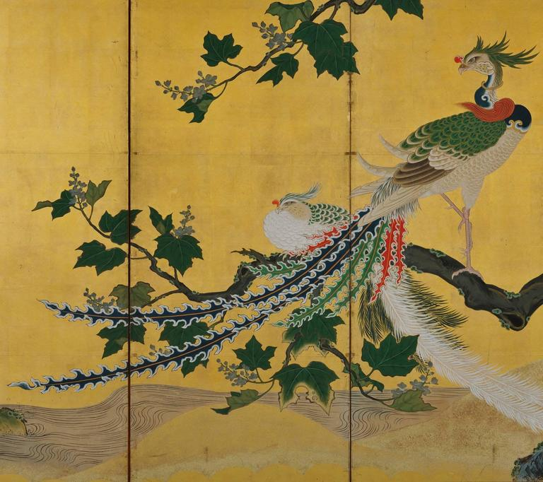 Hand-Painted Japanese Kano Screens. Phoenix and Peacocks on Gold Leaf. 1st Half of the 18c.  For Sale