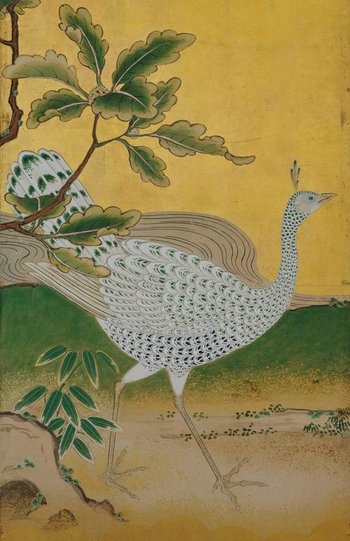 18th Century Japanese Kano Screens. Phoenix and Peacocks on Gold Leaf. 1st Half of the 18c.  For Sale