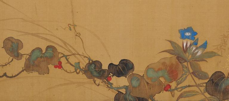 Edo Sakai Hoitsu, Autumn flowers Japanese screen painting For Sale