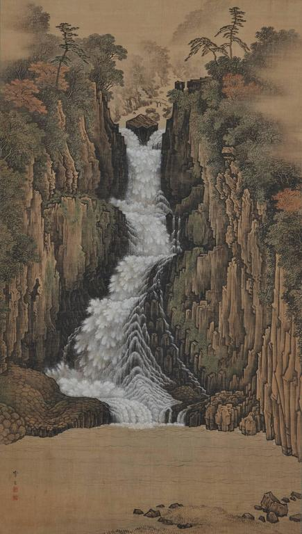 Nachi Falls  A oversized painting by Sugitani Sessho (1827-1895).  Ink and color on silk,   circa 1885.  Nachi Falls is widely recognized as the tallest waterfall in Japan. Situated in the Kii Mountain Range of Wakayama, the waterfall is at