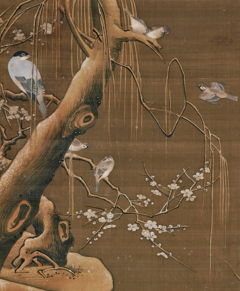 """Ogata Tomin (1839 -1895)   Birds in a spring landscape  Unmounted painting, ink and colour on silk  Inscription reads: """"In the manner of Lu Ji, painted with heartfelt appreciation""""  """"Painted by Tomin Ogata Yosei""""   Seal: Yosei  Dimensions: H. 45"""" x"""