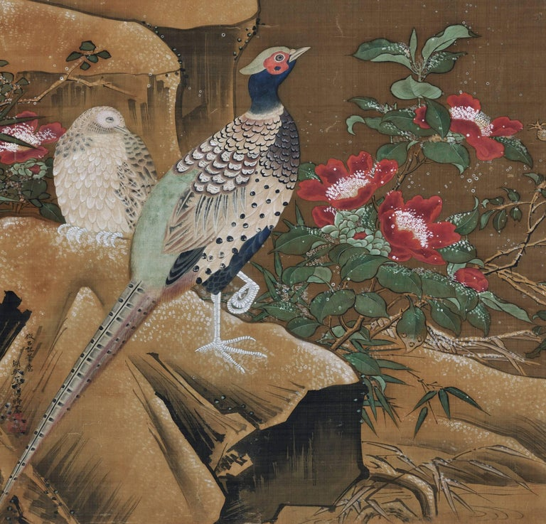 Ming Ogata Tomin (1839-1895), Manner of Lu Ji, Japanese Bird and Flower Painting For Sale