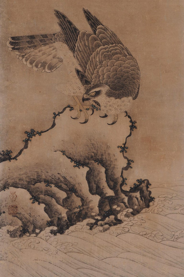 """Mitani Toshuku (1577-1654) """"Falcon"""" Wall panel, ink and light color on paper. Upper Seal: Mitani Lower Seal: Toshuku Dimensions: Each 118.5 cm x 51 cm x 2 cm (46.5"""" x 20"""" x .75"""")  Individual falcon paintings by Mitani Toshuku (1577-1654), an"""